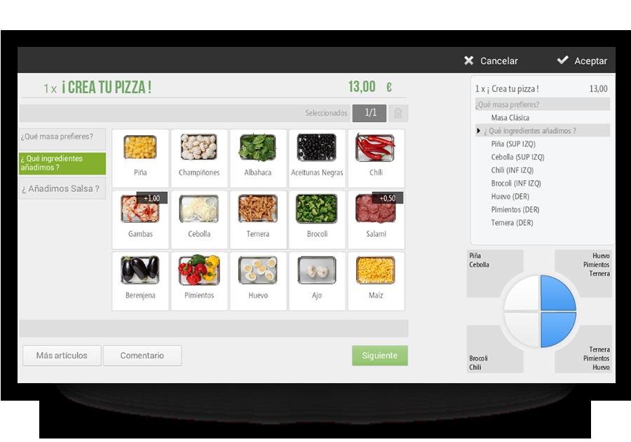 porciones software tpv para pizzerias
